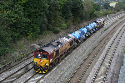 13 October. Euro sheds 66245 tnt with 66045 as they pass Oakley with the MML water cannon working, the 3J92 2318 Toton - West Ham N Jtn.