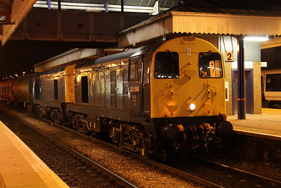 11 October. Timewarp at Aylesbury as blue duo 20096 + 20107 arrive via a reversal at Princes Risborough with 7X09 1142 Old Dalby - Amersham.