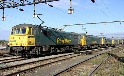 20 October. Together in electric dreams.... 86632 + 86605 + 86613 + 86637 are seen stabled on Basford Hall.