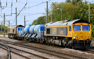 12 October. The GN ECML water cannon has reverted to GBRf operation compared to recent years when DBS operated the service. 66742 ABP Port of Immingham Centenary 1912 - 2012 top and tails with 66744 Crossrail as they enter Hitchin station working the 3J34 1429 Peterborough - Harringay.