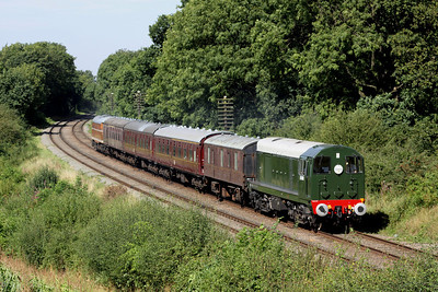 8 September. Class 20 D8098 works the 2C26 1330 ex Loughborough past Kinchley Lane with class 31, D5830 on the rear.