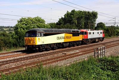 1 September. The month begins with Colas 56094 passing Chelmscote with 86701 Orion in tow working as the 0Z67 1315 Willesden - Washwood Heath.