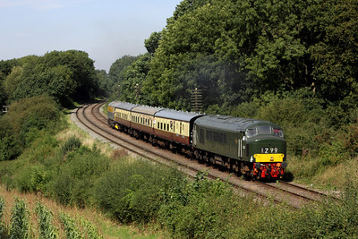 8 September. Peak power as D123 the former 45125 passes Kinchley Lane with the 2C21 1255 ex Loughborough. 33002 Sea King trails on the rear.