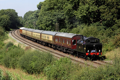 8 September. Running tender first, Jinty 47406 passes Kinchley Lane with the GCR dining special, the 1A25 1320 Loughborough - Leicester North.