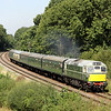 8 September. Class 27, D5401 powers past Kinchley Lane working the 2A20 1240 Loughborough - Leicester North. She failed on arrival at Leicester and had to be rescued by D123.