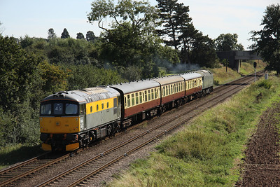 8 September. Due to head home to the South Devon railway after the gala, 33002 Sea King is seen heading away from camera on the rear of the 2A28 1415 ex Loughborough.