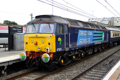 2 September. Tail loco on the initial leg was 47805 with Africa Express adorned buffers and cabside along with a London 2012 flag !