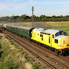 8 September. A burst of faded yellow as 37198 powers the 2A39 1625 Loughborough - Leicester North past Woodthorpe.