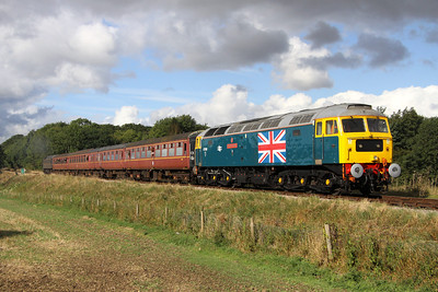 22 September. With clouds gathering already, patriotic 47580 County of Essex is seen at Crownthorpe on the rear of the 1D04 1035 Wymondham Abbey - Dereham with Royal 47798 Prince William leading.