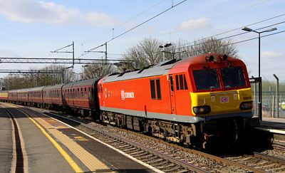23 April. With the failure of TORNADO the previous Saturday, an ECS move was required to move the stock back to London. DB red 92015 is an unusual choice at the head of the 5Z64 1350 Crewe - Wembley seen passing Wolverton.