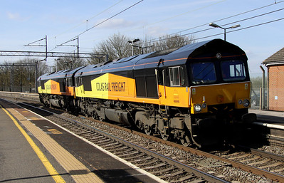 23 April. Colas pair 66846 + 66848 head south through Wolverton working as the 1600 Rugby Depot - Whitemoor Yard.
