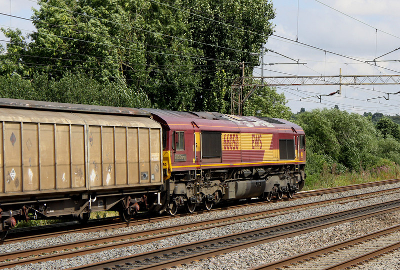 2 Aug. EWS Energy aka 66050 leads past Chelmscote with the last 7V03 1420 Wolverton Works - OOC Heathrow Express conveying 332005.