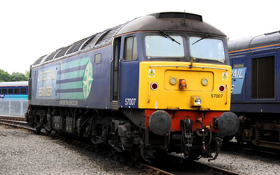 17 Aug. A work worn 57007 on display at Kingmoor. She was the former 47332.