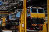 17 Aug. The uniquely liveried 66434 practising the art of levitation inside Kingmoor shed.