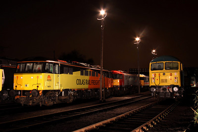 6 Dec. With the use of the yard lights, 86701 Orion and grid 56006 are caught for posterity at Barrow Hill.