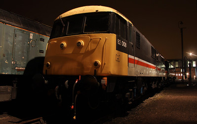 6 Dec. The sole surviving class 82 loco, 82008 in the yard at Barrow Hill.