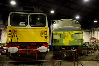 6 Dec. Fertis liveried 58016 undergoing restoration alongside a primed 45060 SHERWOOD FORESTER.