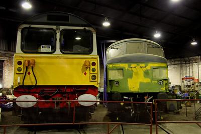 6 Dec. Fertis liveried 58016 undergoing restoration alongside a primed 45060 SHERWOOD FORESTER.