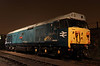 6 Dec. Out in the yard 50008 Thunderer is caught in the yard lights.