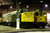 6 Dec. D213 ANDANIA and bagpipe 33108 inside Barrow Hill roundhouse.