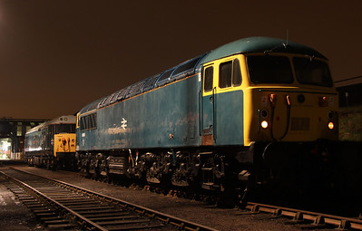 6 Dec. 56006 continues the BR blue theme of the night shoot as she is captured in the yard with 50008 behind her.