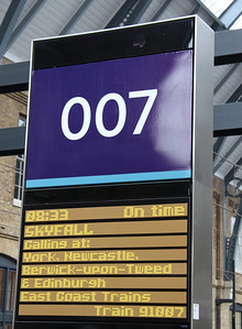16 February. Platform 7 was transformed into platform 007 for the launch train, seen here with train details.