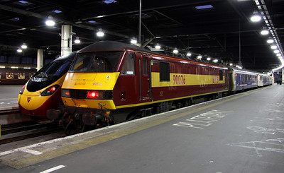 16 February. 90026 sits on the blocks at journey's end at Euston having worked the 1M11 Caledonian Sleeper from Glasgow Central.
