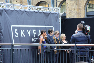 16 February. Stars and guests including Naomie Harris on the left who plays Miss Moneypenny prepare to pull the curtain down to officially launch the SKYFALL train.
