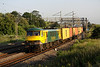 6 July. Summer at last as the early morning sun greets 90045 at Old Linslade with the previous night's 4L89 2200 Coatbridge - Felixstowe liner.