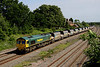 7 June. Heavyhaul allocated 66545 passes Oakley cottages with the 6M79 1056 Angerstein - Bardon Hill.