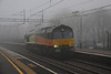 8 March. With the weather even worse than the previous day, 66848 emerges from the mist at Wolverton working as the 0Z66 0954 Rugby DAL - Hoo Junction Up Yard.