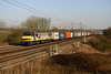 5 March. Freightliner two tone grey 90043 Freightliner Coatbridge heads north on the 4M87 1114 Felixstowe - Trafford Park at Chelmscote.