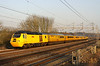 5 March. Network Rail liveried 43062 John Armitt looks remarkably yellow and clean compared to the remainder of the New Measurement Train as she trails the 1Q28 1407 Derby RTC - Derby RTC via Euston at Chelmscote.