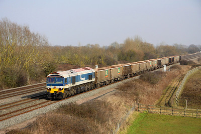 4 March. Hanson liveried 59101 Village of Whatley passes Denchworth on the 7C54 1306 Oxford Banbury Road - Whatley.