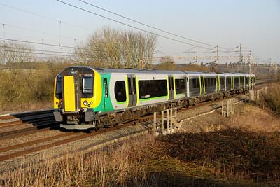 5 March. Recently named and partially vinyled 350110 PROJECT 110 passes on the fast at Chelmscote with the 1549 Euston - Birmingham New Street.