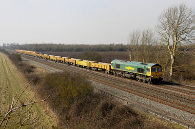 4 March. 66607 heads the 6M40 1156 Westbury - Stud Farm past Denchworth.