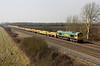 4 March. 66607 heads the 6M40 1156 Westbury - Stud Farm past Denchworth.