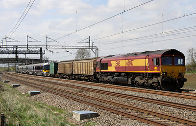 4 May. 66037 performs the honour of returning 332008 to more familiar territory as they pass Soulbury with the 7V03.