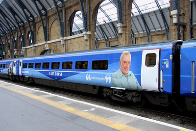 5 Nov. SKY 1 HD liveried Mark 4 open first 11425 at King's Cross