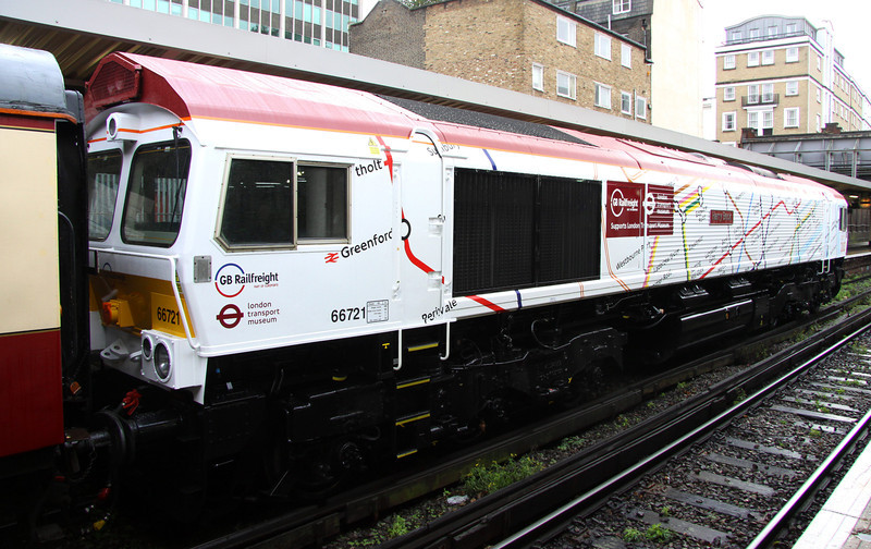 5 Nov. Also repainted from her obsolete livery is 66721 Harry Beck, the designer of the original underground map. The loco is white on the modern 2013 side and cream on the 1933 side. This view depicts the 2013 side displaying the modern day tube map.
