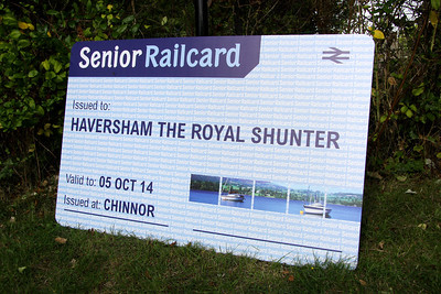 5 Oct. Veteran shunter 08011, the former shunting loco at Wolverton Works has celebrated her 60th birthday and as can be seen, has taken delivery of a rather large Railcard which is seen here on display at Chinnor station.