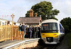 5 Oct. Plenty of people on the platform at Chinnor as 165001 arrives with the 'Watlington Flyer', the 0935 Aylesbury - Chinnor. This was the first passenger carrying service between Princes Risborough and Chinnor for 57 years.