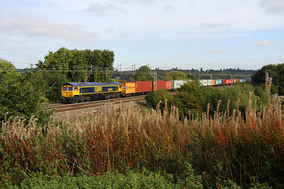 7 Oct. A few Autumnal colours greet 66743 at Chelmscote working 4M23 from Felixstowe - Hams Hall.