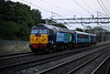 5 Sep. With the light fading rapidly, spotless 57002 with vehicles 5810 and 9525 in tow pass Bradwell working the 1420 Eastleigh Works - Crewe.