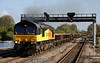 18 April 2014. Colas shed 66846 powers through Princes Risborough in charge of the 6C24 0635 Hinksey Yard - Southall East Junction. 66846 was former Freightliner loco 66573.