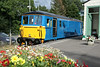 2 August 2014. The colours of summer are captured alongside 73140 in the bay at Eridge. This view shows better the missing bodyside grilles.