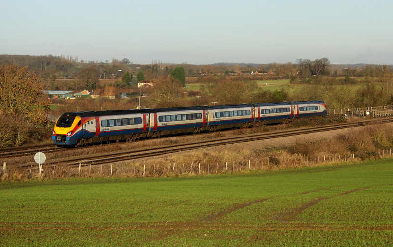 11 Jan 2014. Staple diet on the MML with Meridian 222018 working the 1P24 0916 Corby - St. Pancras International past Oakley.