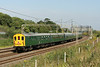 12 July 2014. Preserved but mainline registered Hastings DEMU 1001 heads away from camera at Old Linslade whilst working The Hastings Diesel Crewe, the 1Z06 Hastings - Crewe.