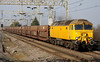 8 March 2014. A splash of yellow as 57306, the former 47814 Totnes Castle powers past Cheddington working the 6Z80 1017 Warrington Arpley Sidings - Tonbridge. The empty cartics are to used in a new flow conveying Renault cars from Southampton - Mossend and utilising GBRf traction.