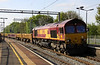 3 May 2014. An hour later and the 6A12 1340 Bescot Engineers Sidings - Bourne End Junction passes Wolverton with 66129 at the helm.